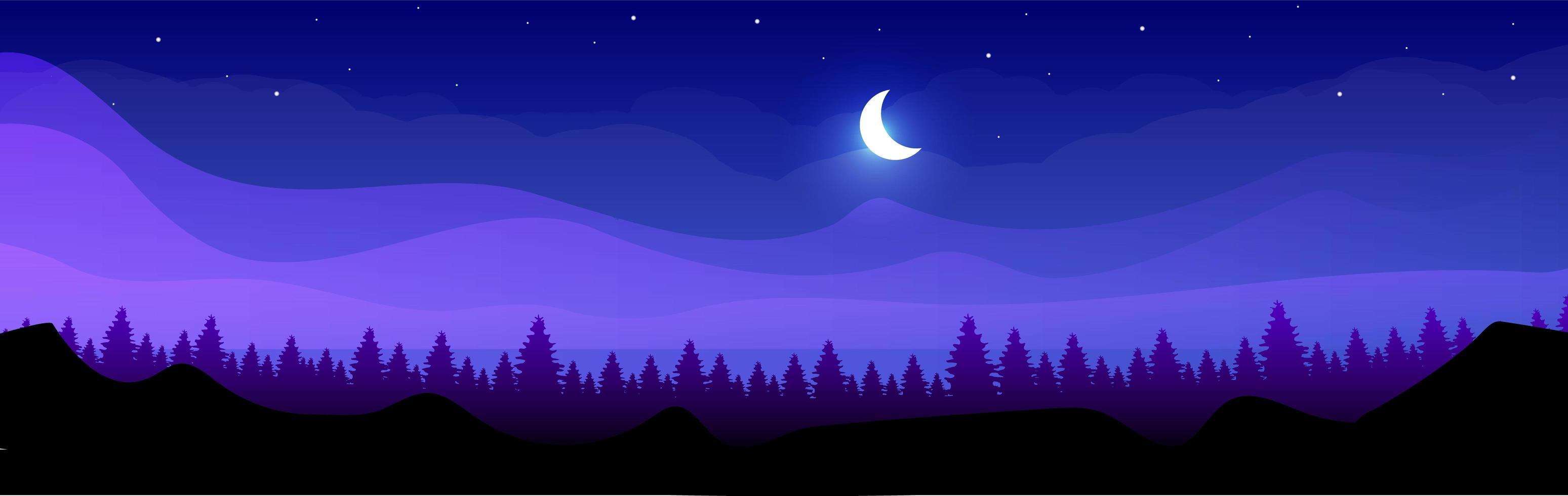 montanhas à noite vetor