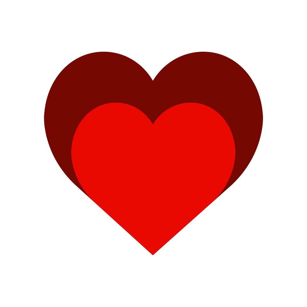 ícone de estilo de cor de dois corações muito simples vetor
