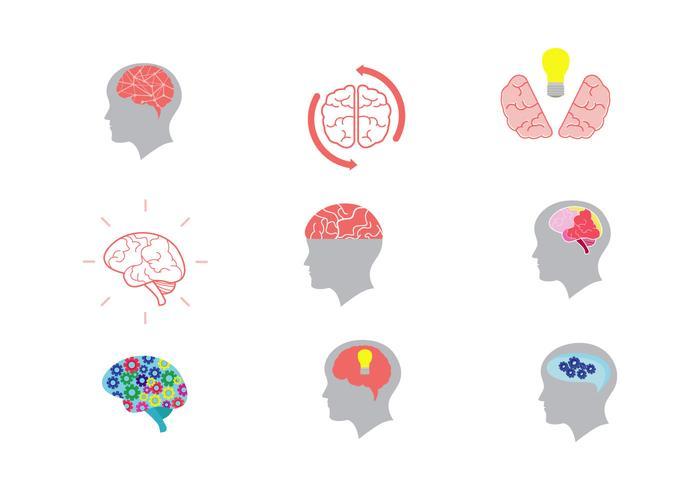 Ícones do vetor da mente aberta
