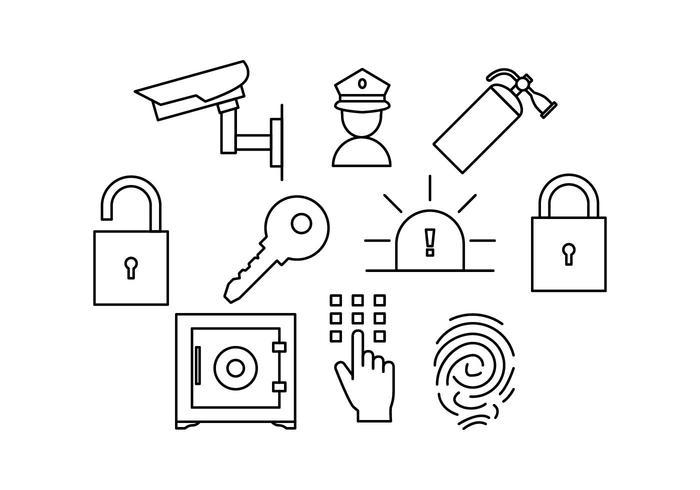 Vector de ícone de linha de segurança grátis