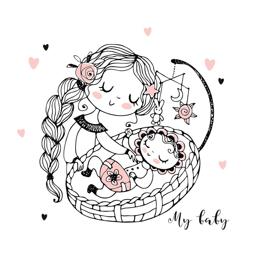 mamãe coloca o bebê para dormir vetor