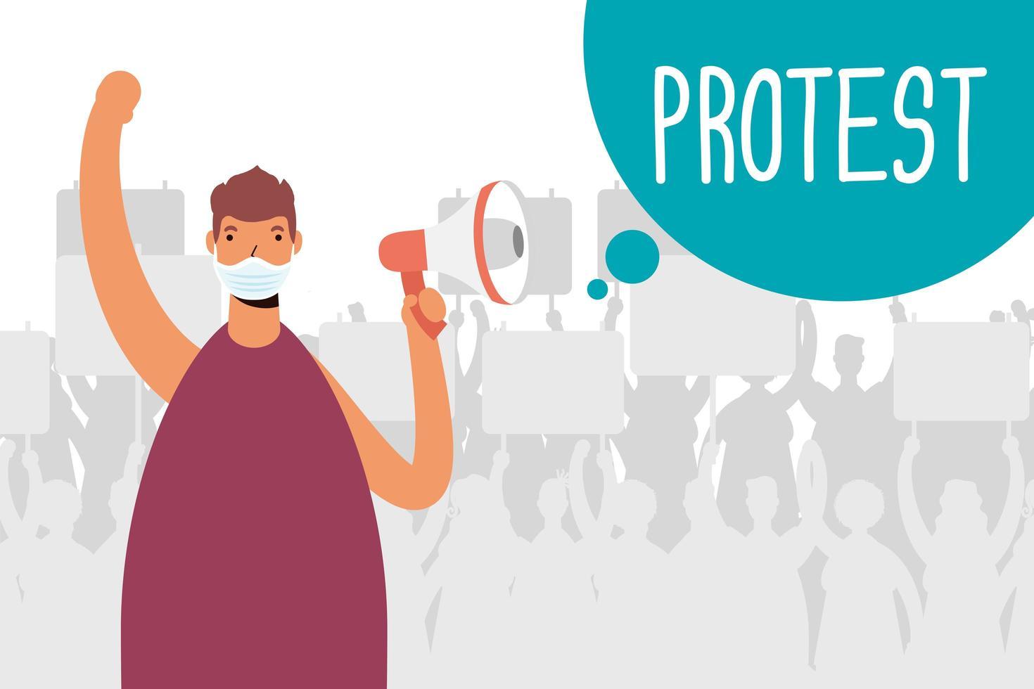 homem com máscara facial e megafone protestando vetor