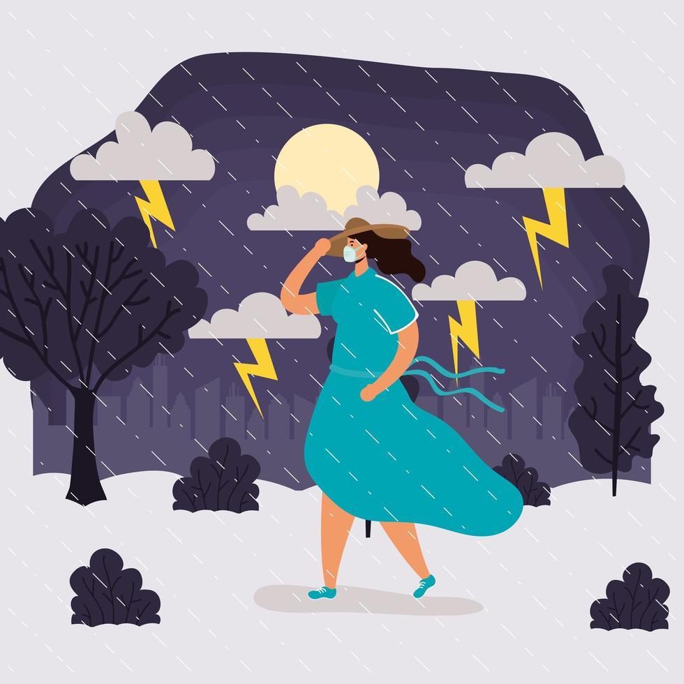 mulher com máscara facial em paisagem de clima chuvoso vetor