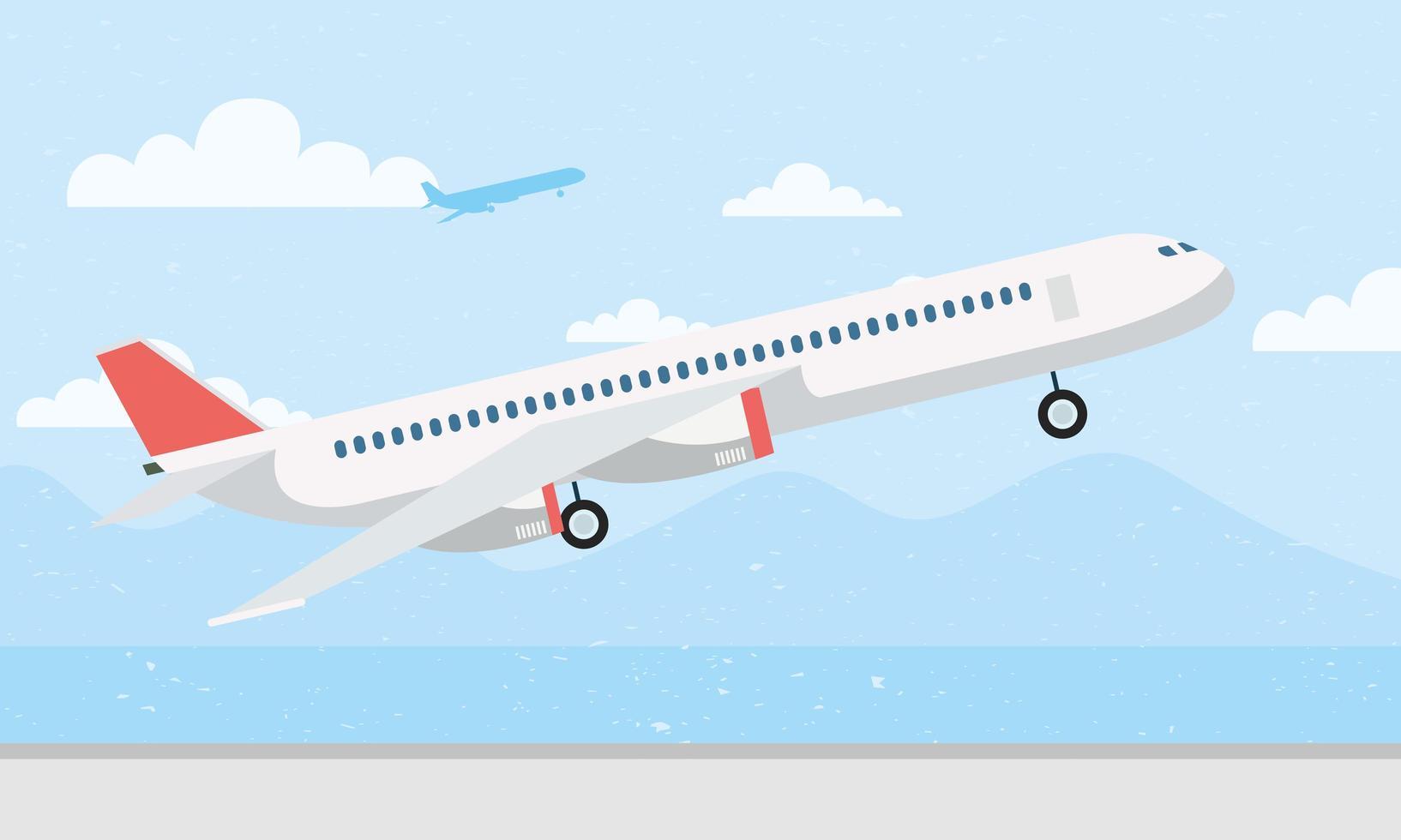 avião decolando fundo vetor