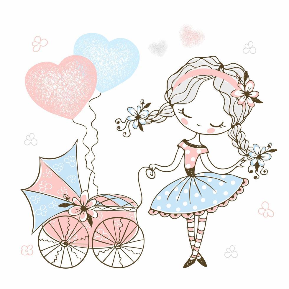 menina bonitinha com um carrinho de bebê de brinquedo vetor