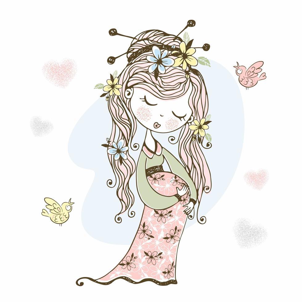 menina grávida com flores no cabelo. vetor
