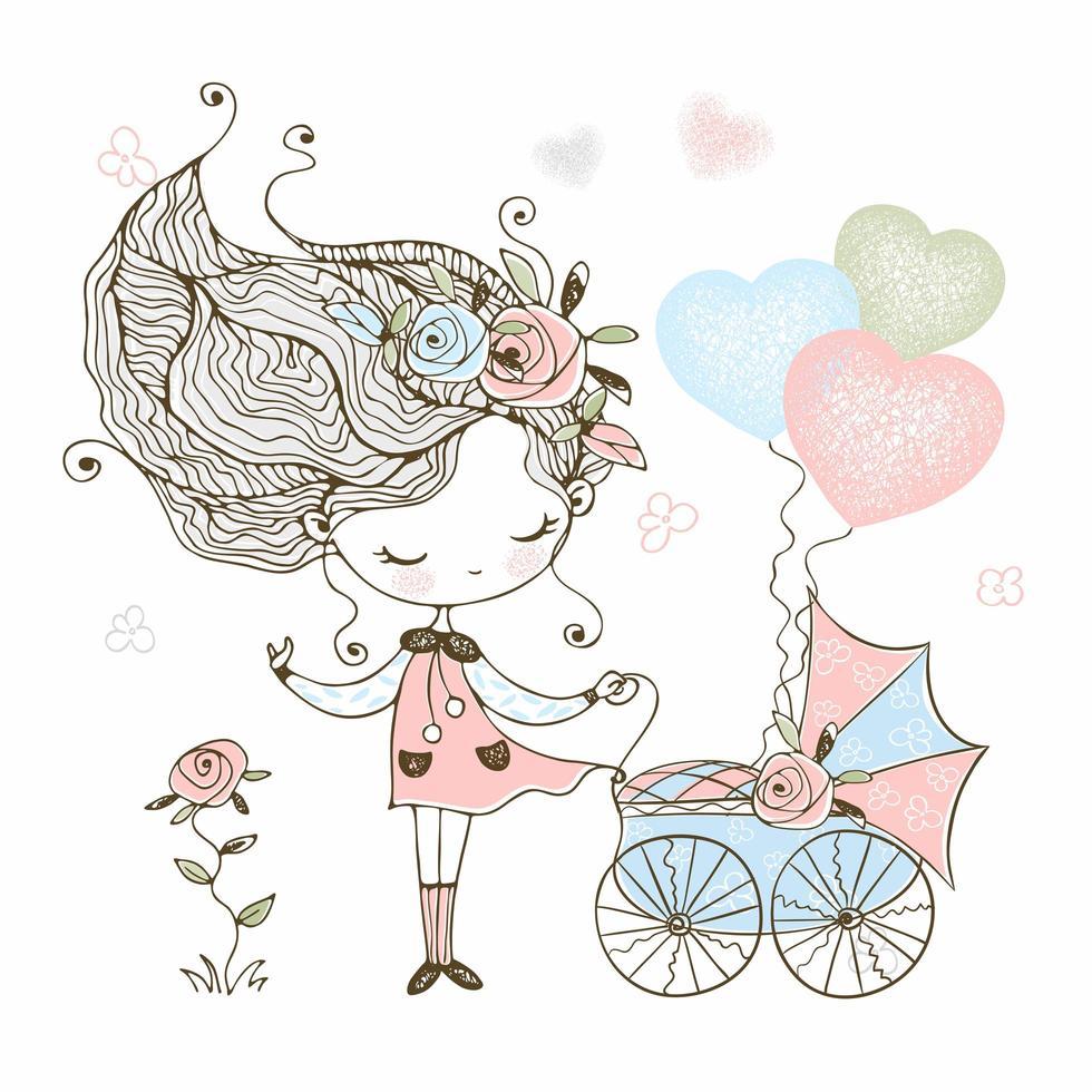 menina bonitinha com um carrinho de bebê de brinquedo com o bebê vetor