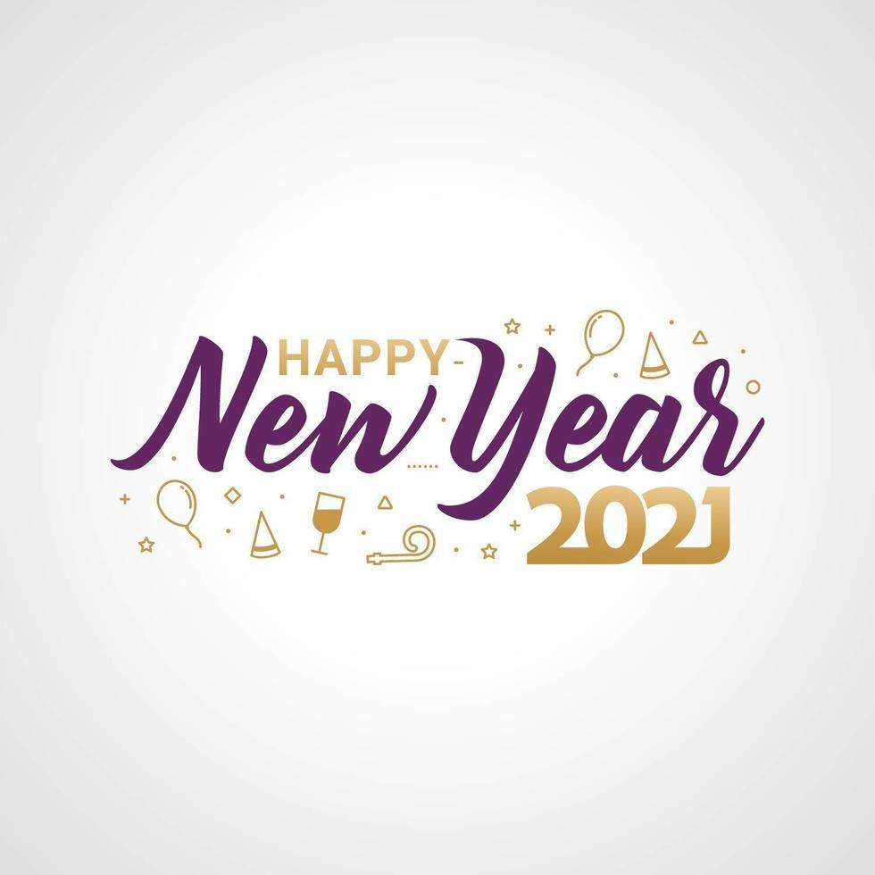 feliz ano novo 2021 tipografia para cartão comemorativo vetor