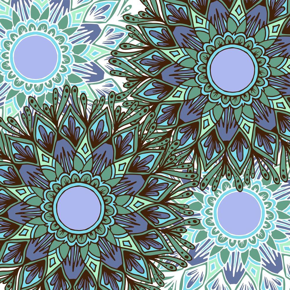 fundo de mandala de flor de estilo boho colorido vetor