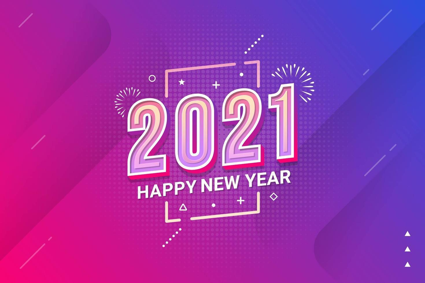 cartaz de tipografia feliz ano novo 2021 vetor