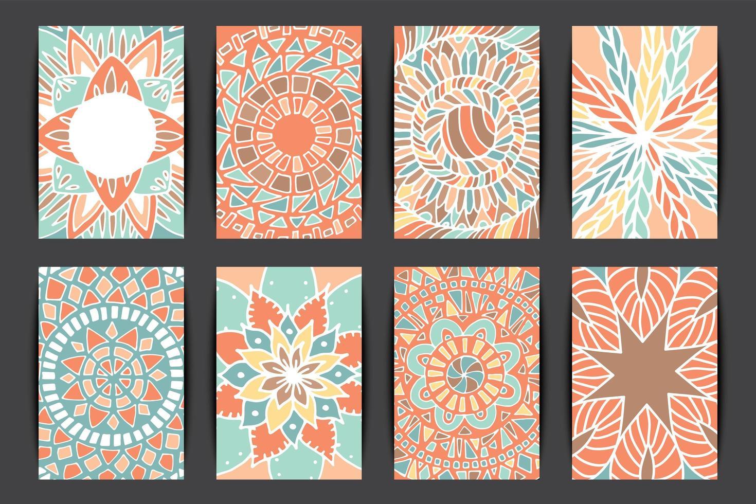 conjunto de cartão padrão de mandala de flor vetor