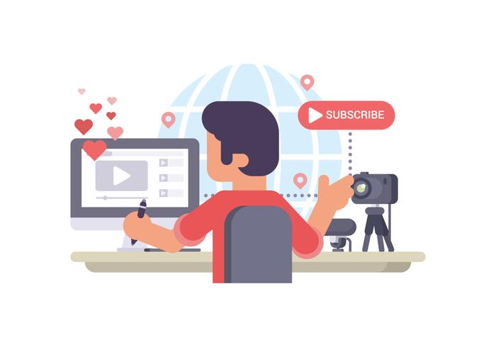 Video Blog Creator Making Video Stream vetor