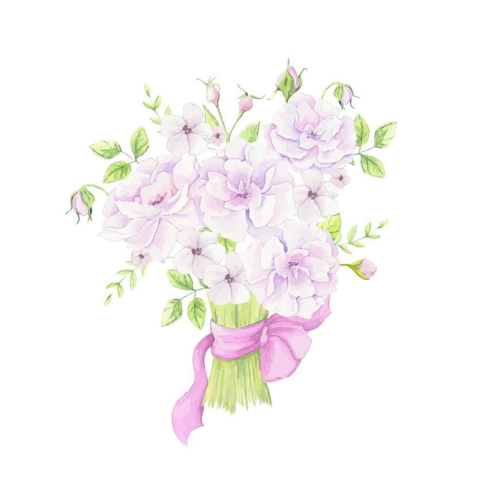 bouquet em aquarela de flores de rosa mosqueta com uma fita rosa vetor