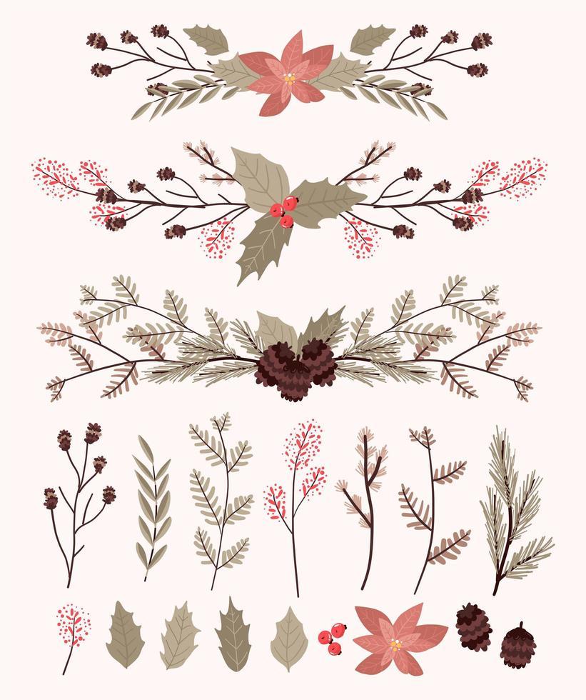 conjunto de elementos de decoração de plantas de natal vetor