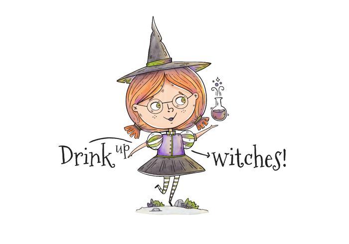 Caráter bonito da bruxa pequena com veneno para o vetor do Dia das Bruxas