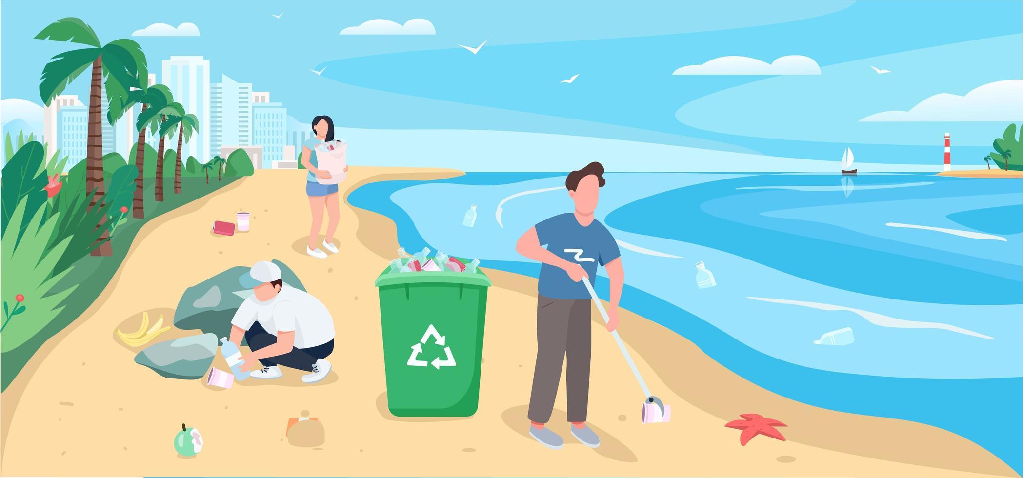 pessoas limpando praia de areia vetor