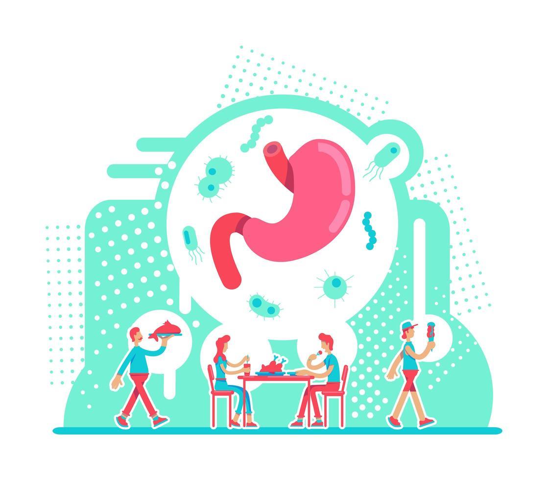 cuidados com a saúde do estômago vetor
