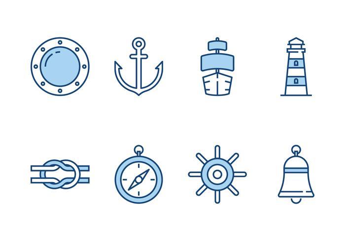 Ícones da Linha Marinha vetor