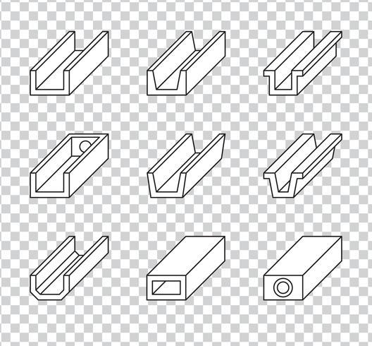 Goteira de telhado ou Gutter de chuva para ícones do sistema de drenagem vetor
