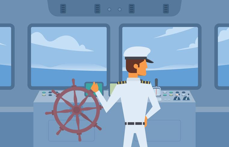 Navio Captain Holding Ship Wheel Vector