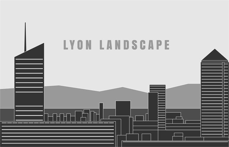 cidade do design da silhueta do horizonte de lyon vetor