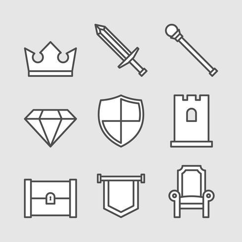 Ícones do rei royal set vetor