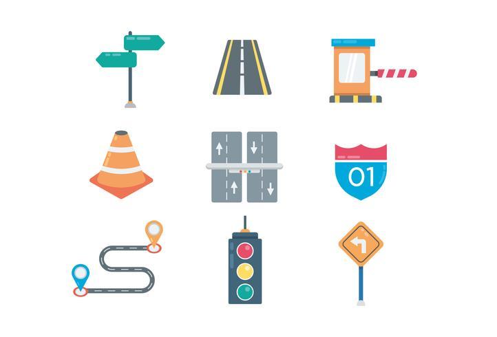 Ícones de estrada e tráfego vetor