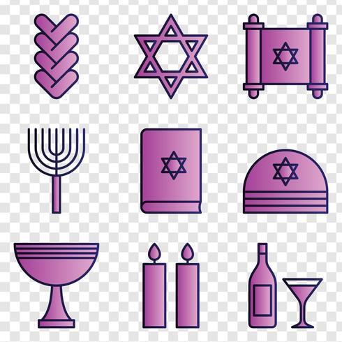 Ícones Hanukkah Shalom vetor