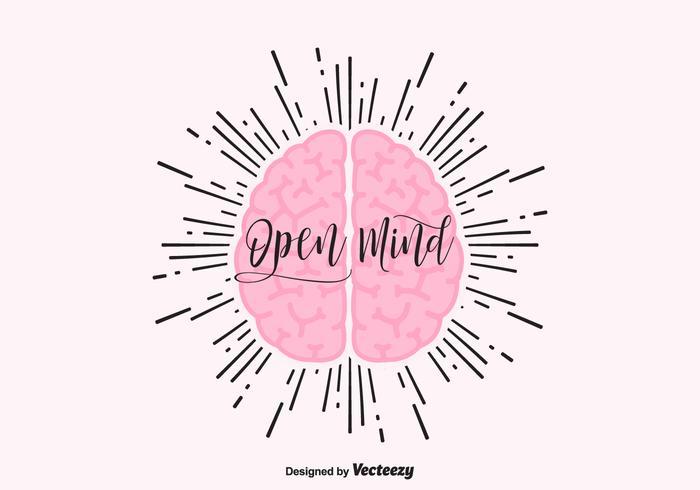 Conceito de conceito de mente aberta com cérebro humano vetor