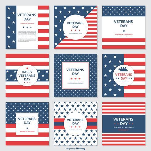 Cartões vetoriais das listras do dia do veterano e das estrelas vetor