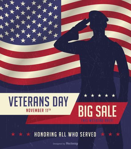 Cartaz retro da venda do dia de veteranos vetor