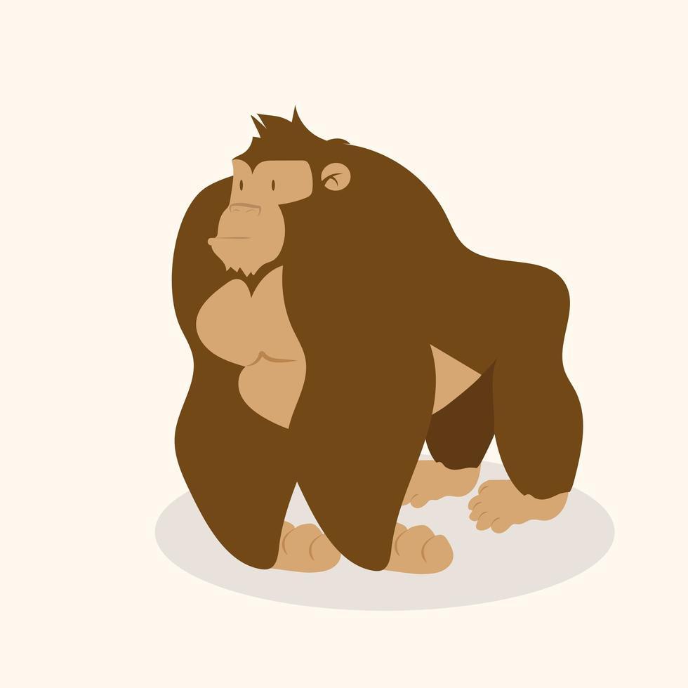 vetor de personagem gorila fofo