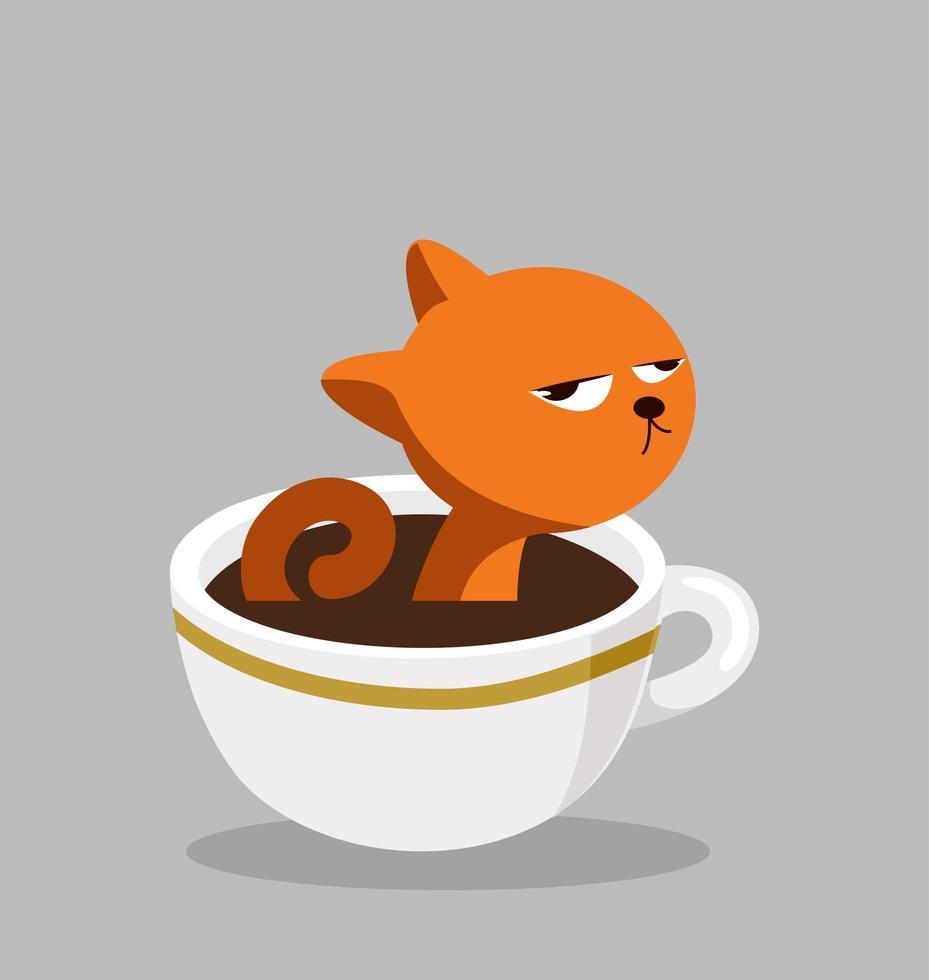 gato com xícara de café preto vetor
