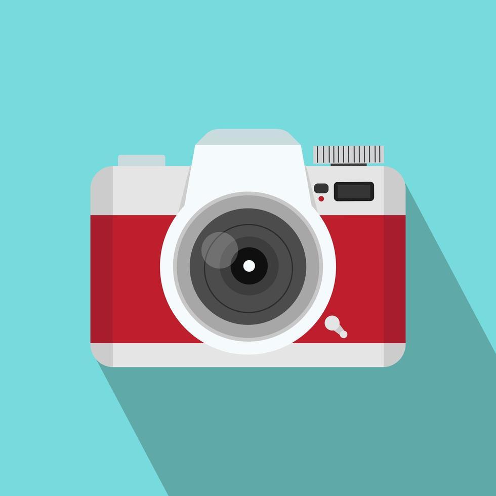 estilo plano de câmera vermelha com sombra longa vetor