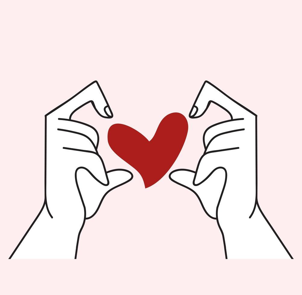 vetor de mãos com formato de coração