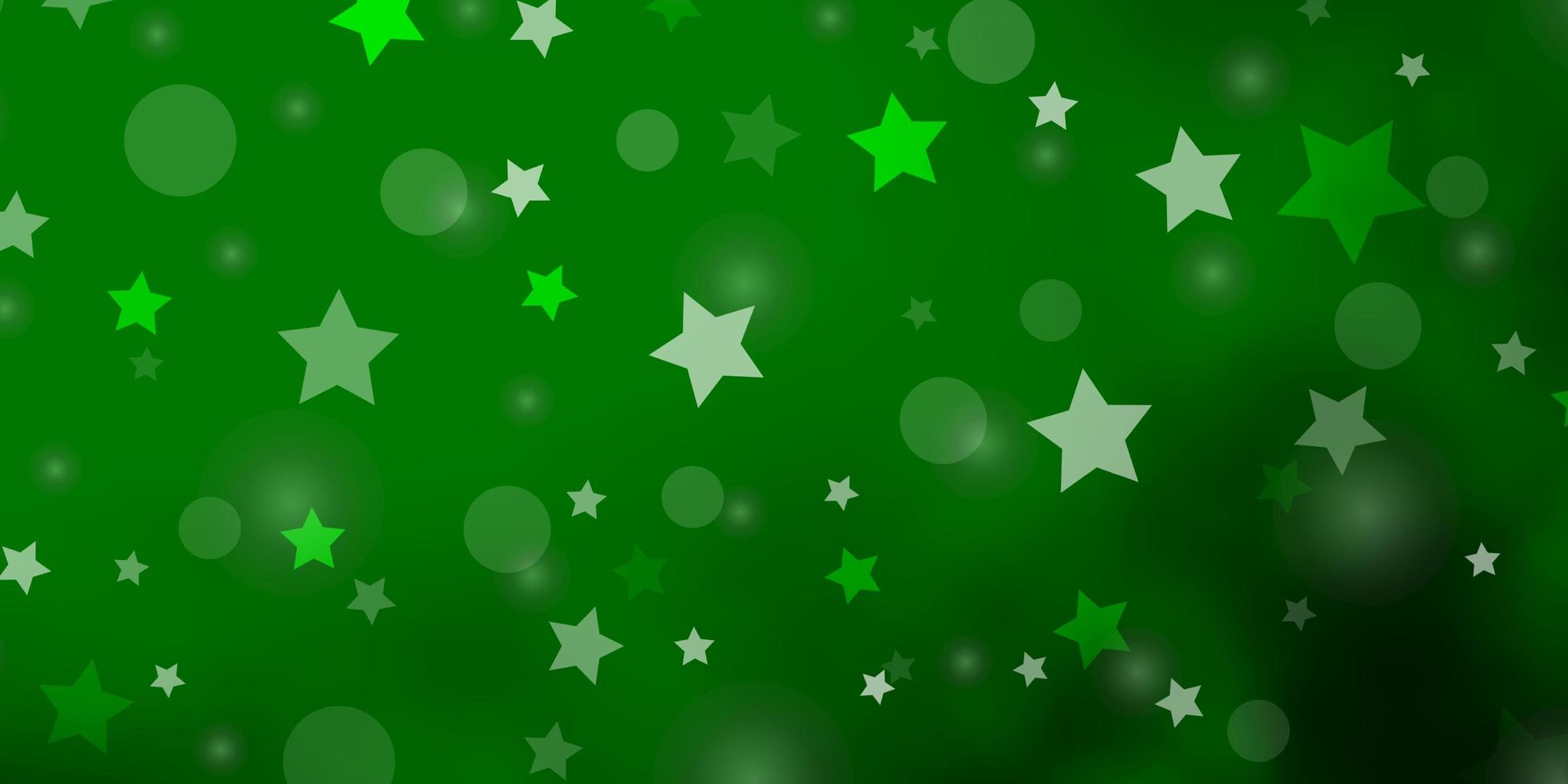 fundo verde claro com círculos, estrelas. vetor