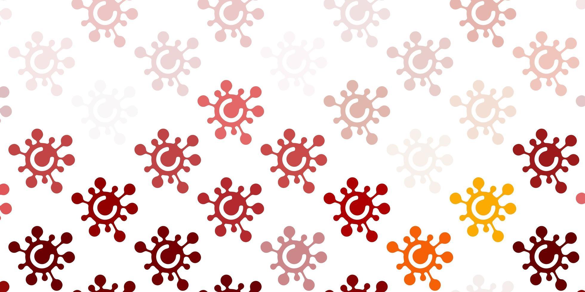 pano de fundo vermelho e amarelo claro com símbolos de vírus. vetor