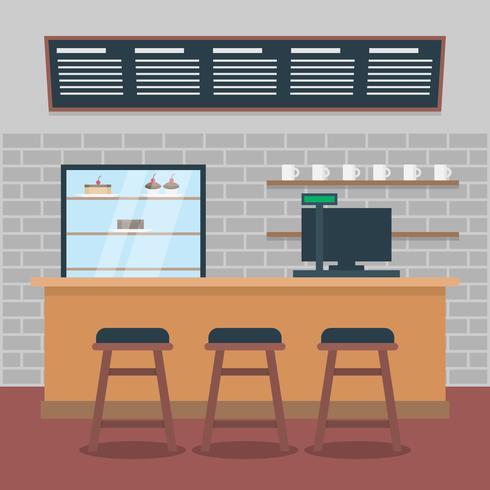 Ilustração moderna do interior do café vetor