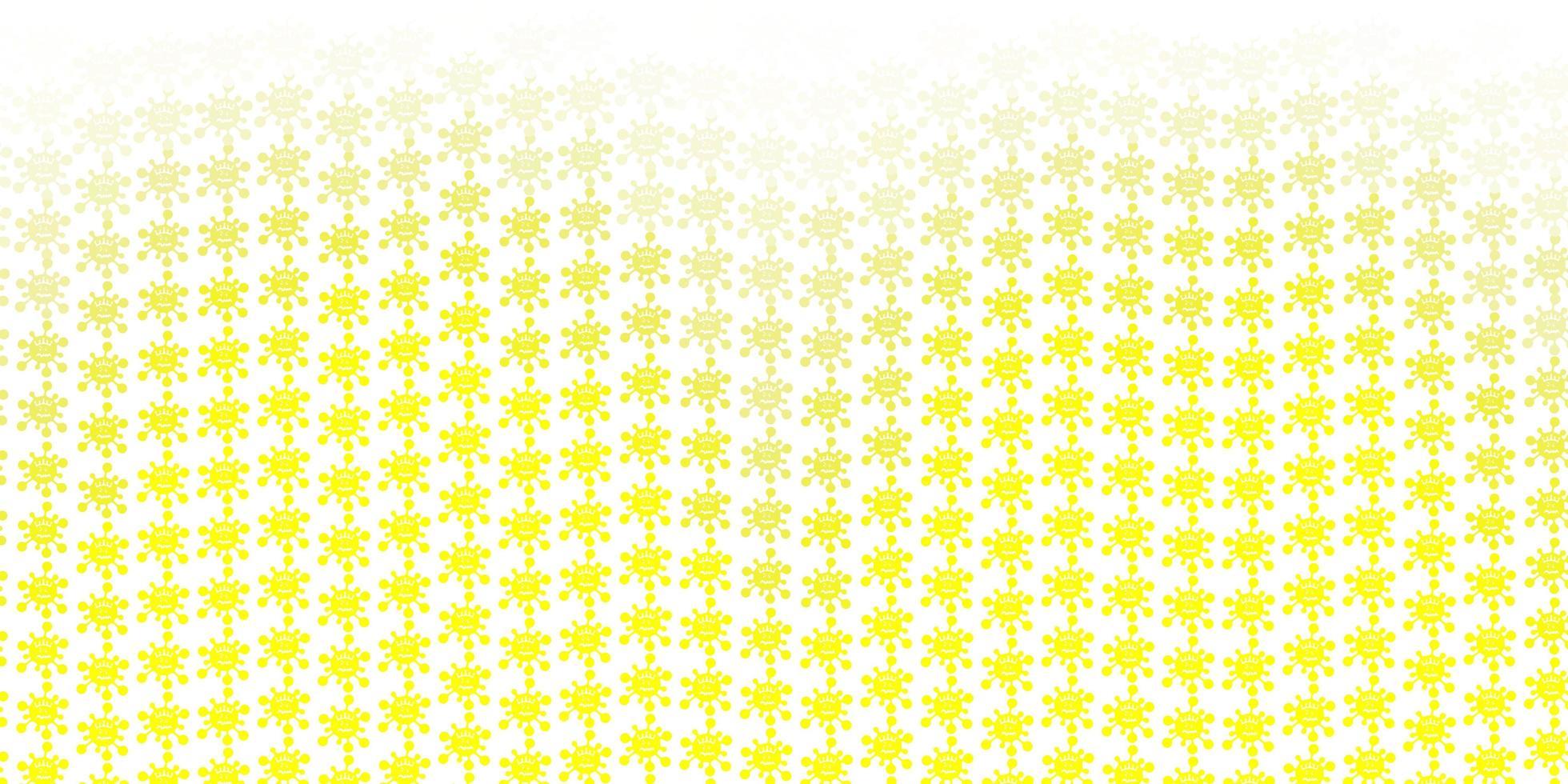 textura de vetor amarelo claro com símbolos de doença.