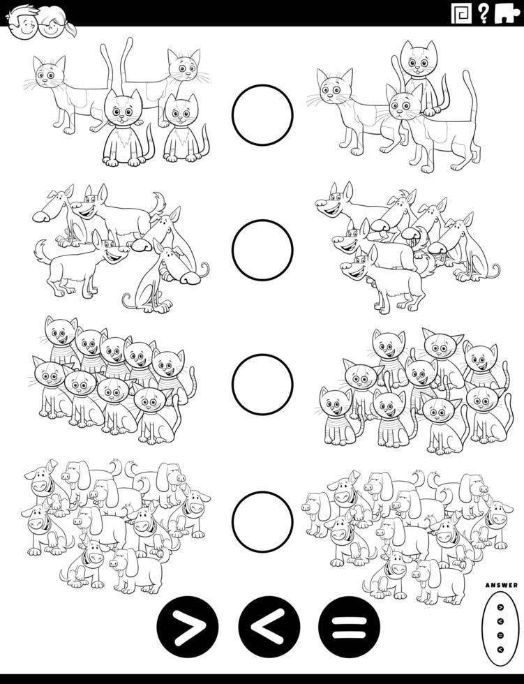 maior menor ou igual tarefa para colorir página vetor