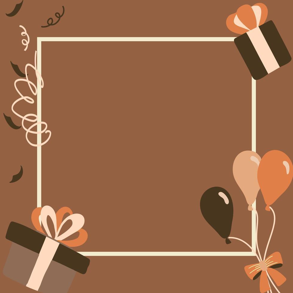 caixas de presente marrom feliz aniversário vetor