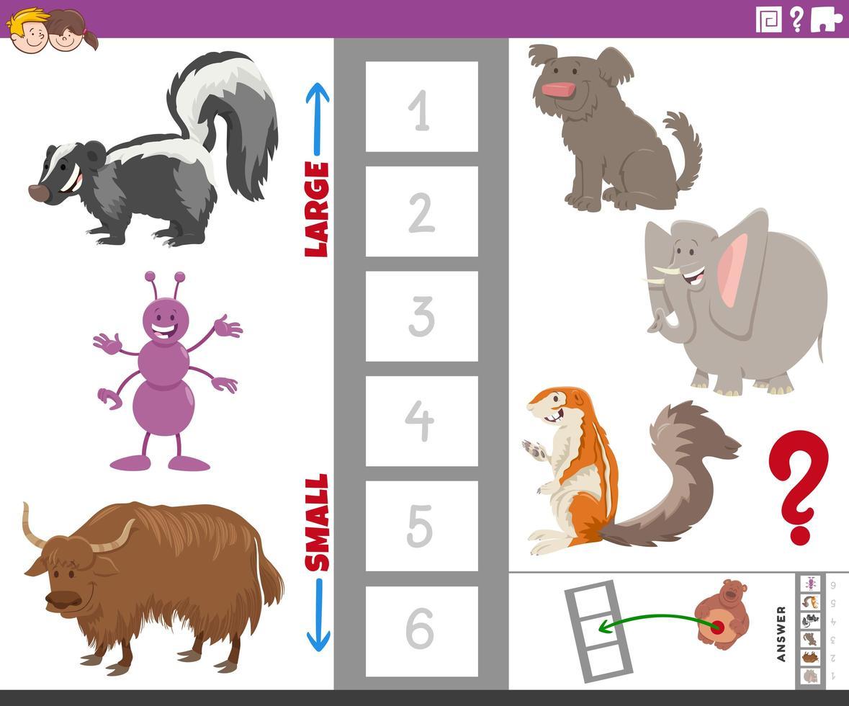 jogo educativo com espécies de animais grandes e pequenos vetor