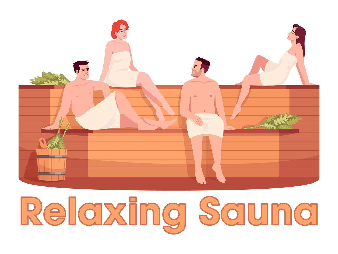sauna finlandesa semi plana cor rgb vetor