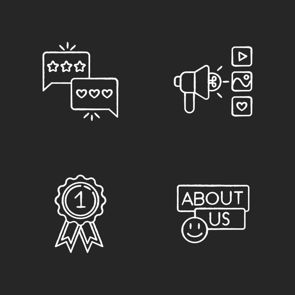 mídia social corporativa conjunto de ícones de giz branco vetor