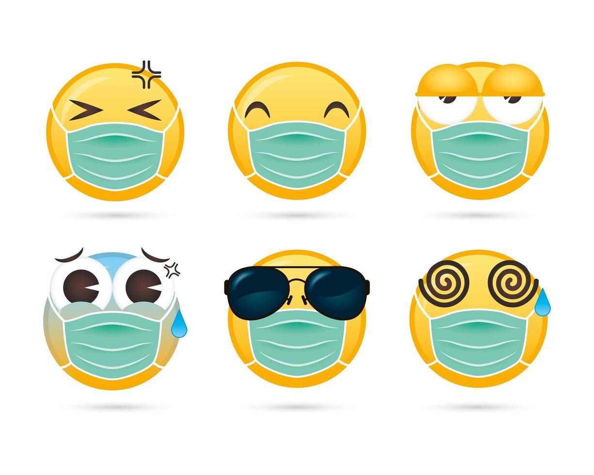 conjunto de emoji usando máscara facial vetor
