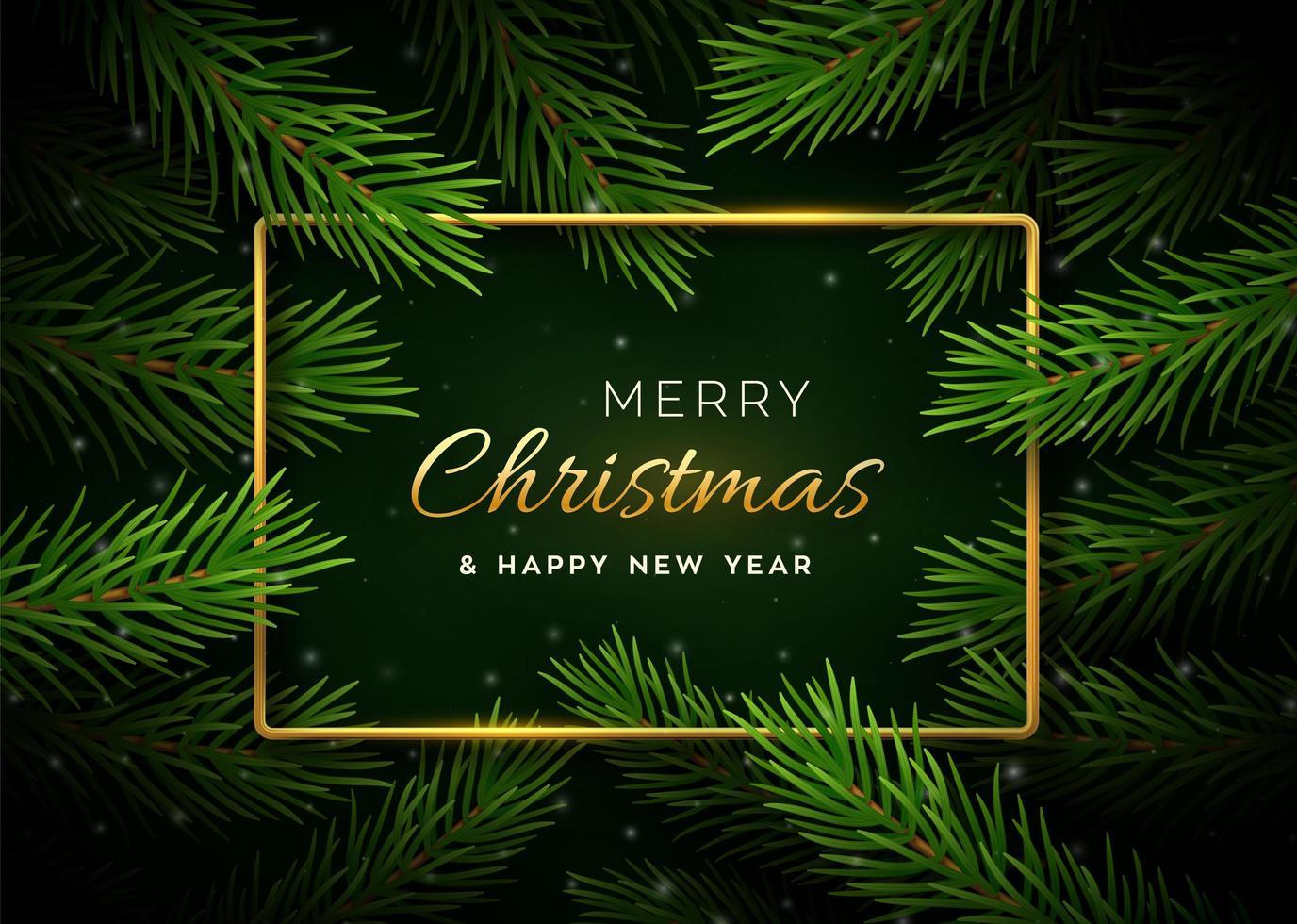 banner de natal com galhos de árvores e moldura dourada vetor