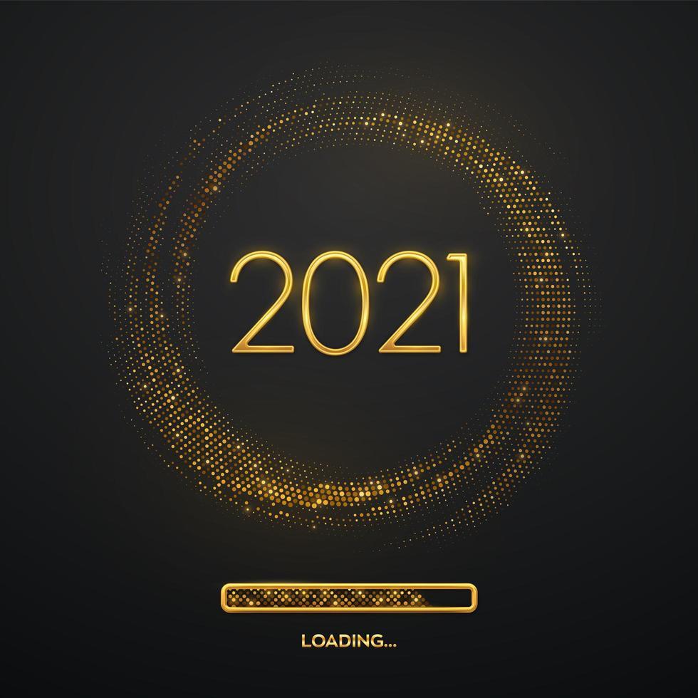 feliz ano novo ouro luxo números 2021 vetor