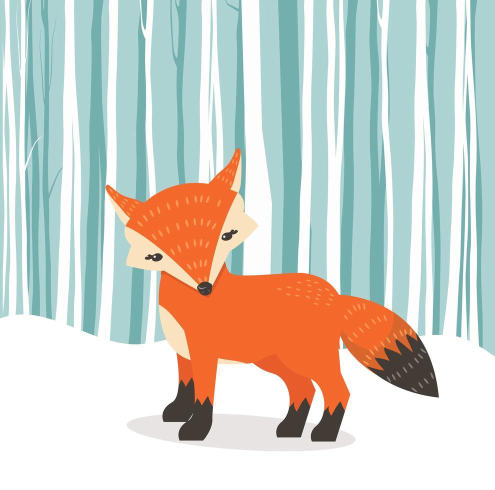 raposa bonito dos desenhos animados no fundo do inverno vetor
