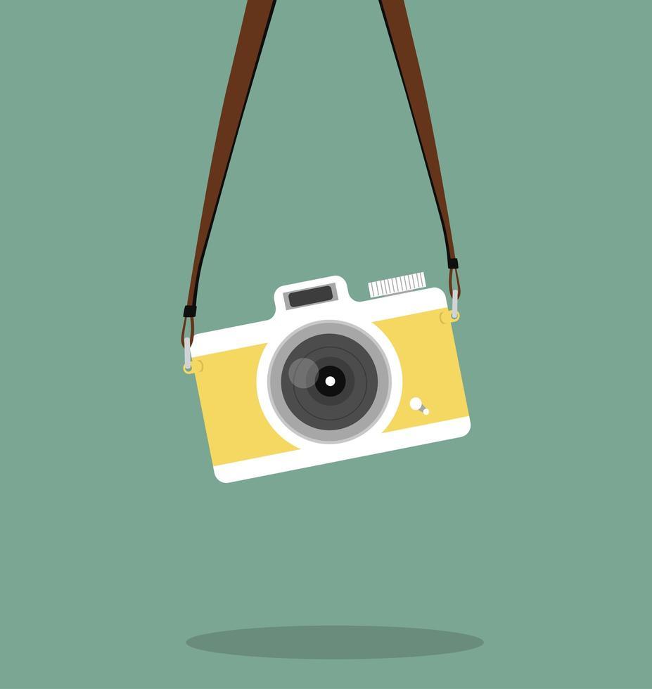 pendurado estilo plano de câmera vintage vetor