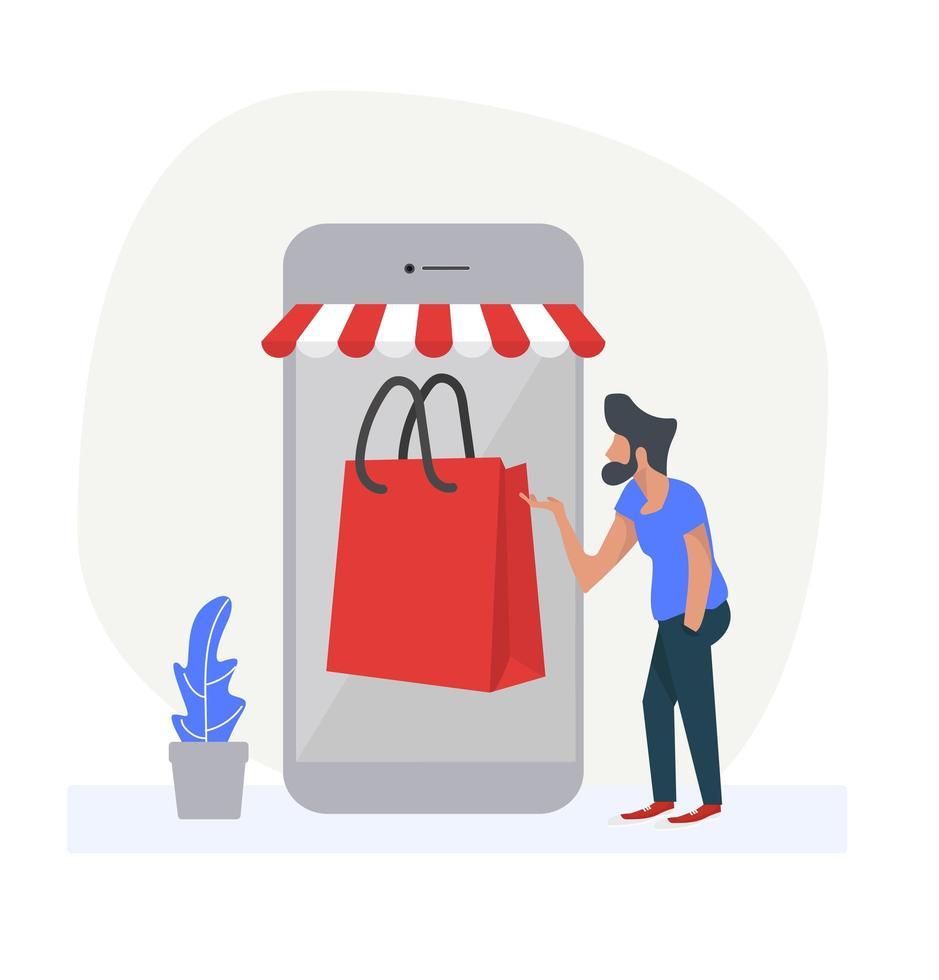 homem usando smartphone para fazer compras online vetor